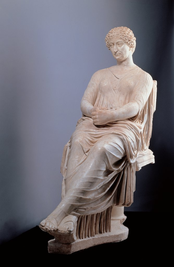 Stock Photo: 1899-45793 So-called Agrippina, by Unknown artist, 69 - 96 d.C.,, white marble, full relief. Italy: Campania: Naples: National Archaeological Museum. Whole artwork. Statue Roman matron woman sitting Agrippina hair in curls