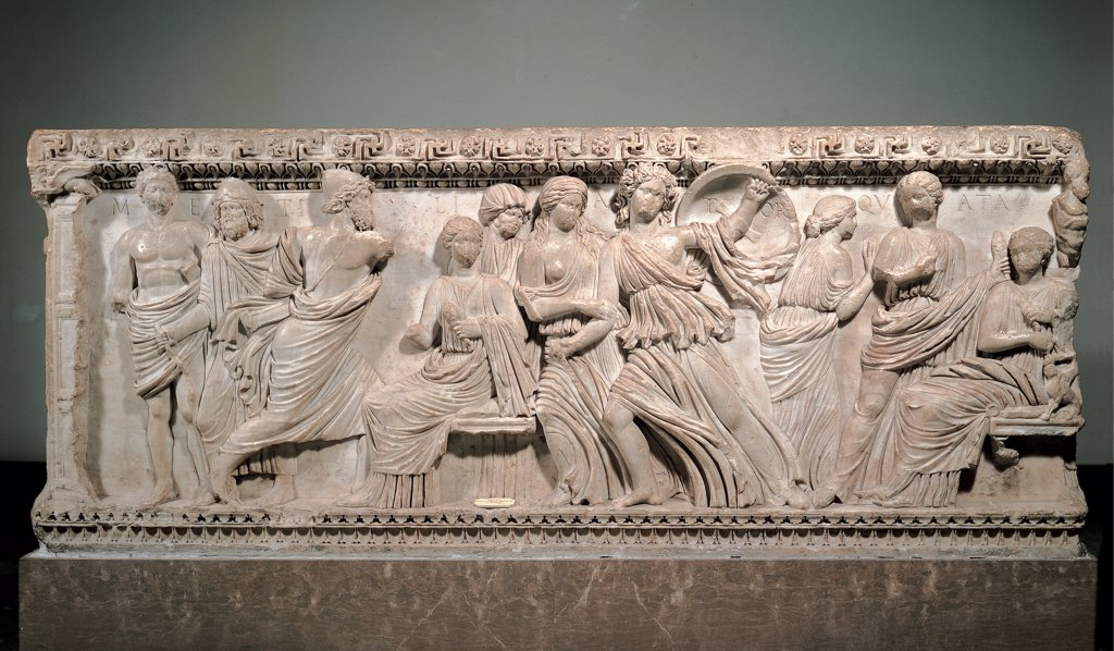 Sarcophagus with the myth of Ulysses, by Unknown artist, 2nd Century, white marble, bas, relief. Italy: Campania: Naples: National Archaeological Museum. Whole artwork. Sarcophagus men women Ulysses Achilles : Stock Photo
