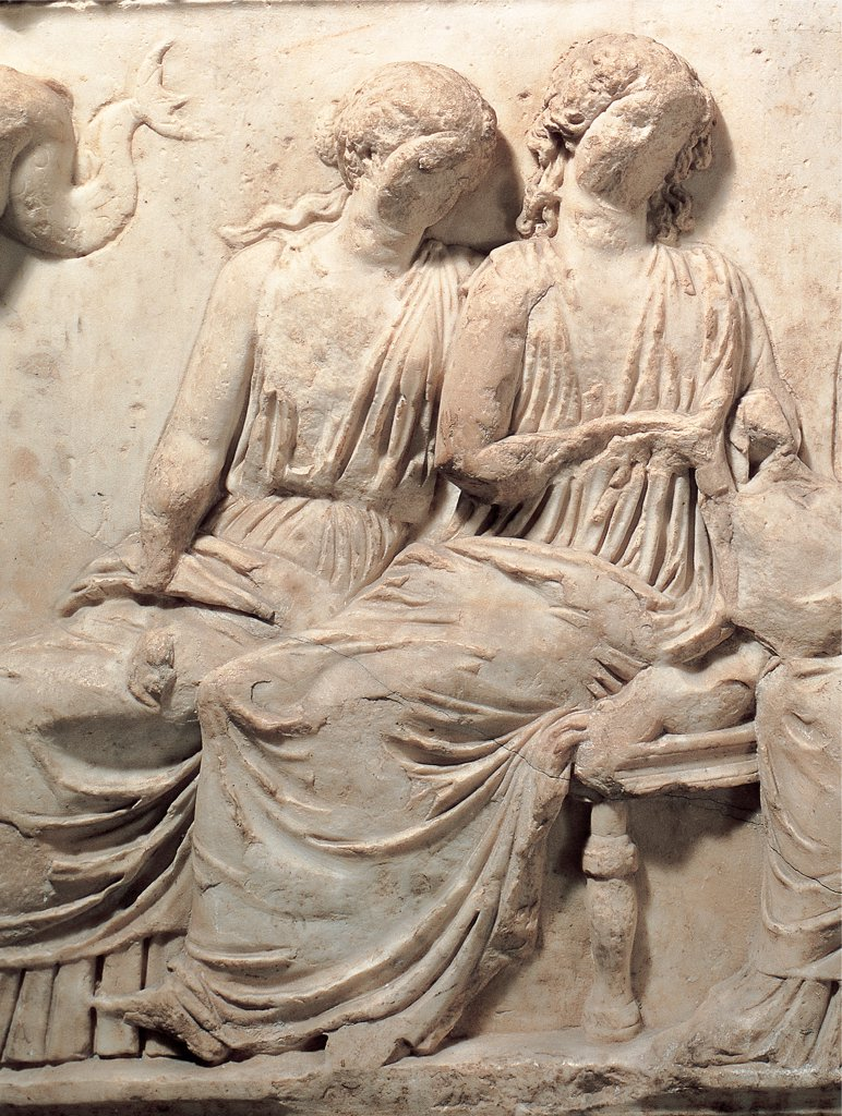 Stock Photo: 1899-45817 Sarcophagus with the myth of Ulysses, by Unknown artist, 2nd Century, white marble, bas, relief. Italy: Campania: Naples: National Archaeological Museum. Detail. Sarcophagus women