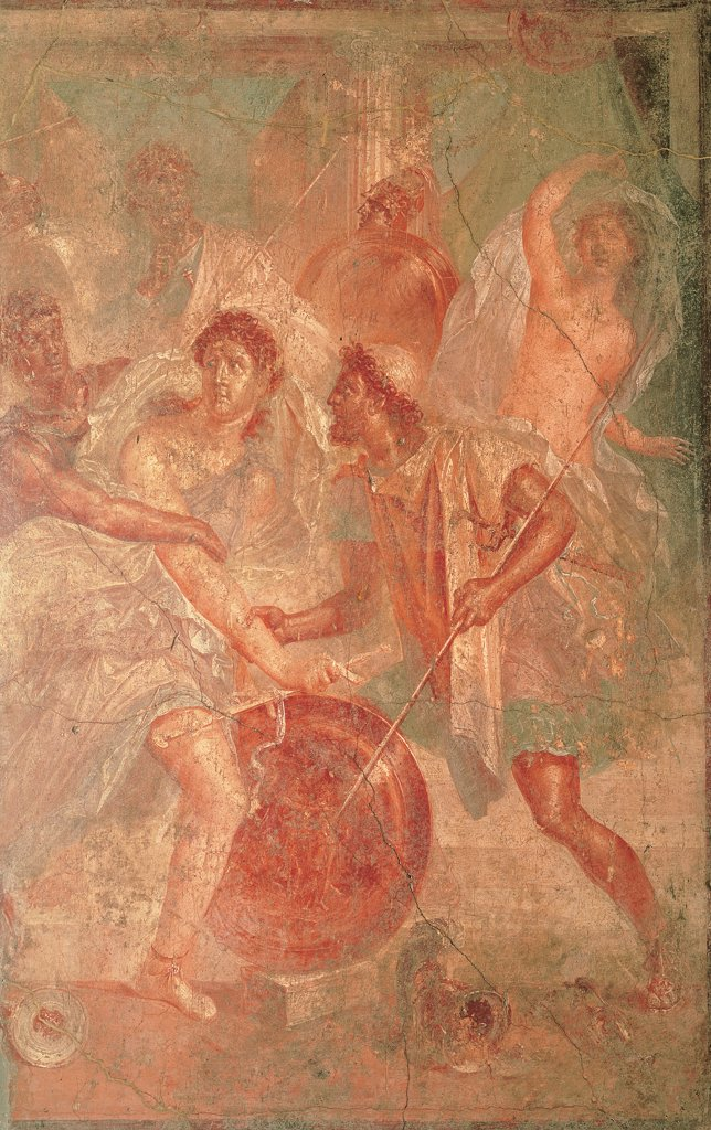 Stock Photo: 1899-45860 Achilles in Shiro, by Unknown artist, 1st Century, fresco (mural). Italy: Campania: Naples: National Archaeological Museum. Detail. Wall decoration Greek hero man Achilles lance/spear shield girls naked woman Deidamia