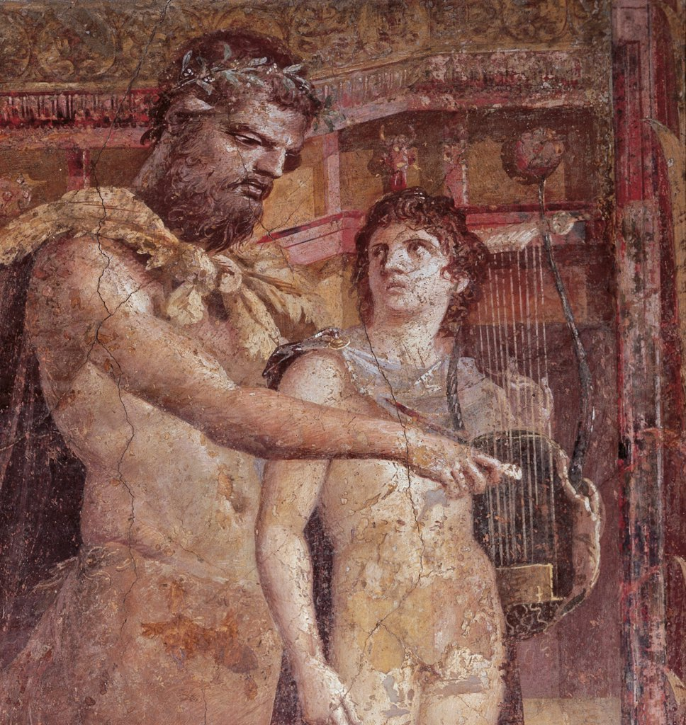 Chiron and Achilles Child, by Unknown artist, 1st Century, fresco (mural). Italy: Campania: Naples: National Archaeological Museum. Detail. Wall decoration fresco centaur Chiron master educator Achilles naked child musical instruments lyre plucked strings plectrum : Stock Photo