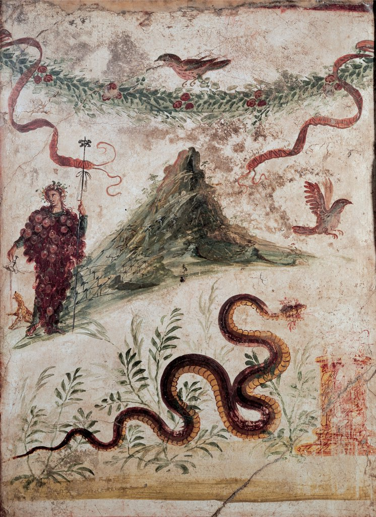 Bacchus and the Vesuvius, by Unknown artist, 79,1st Century, mural (fresco). Italy: Campania: Naples: National Archaeological Museum: inv. 112286 Casa del Centenario. Wall decoration landscape volcano Vesuvius Dionysus-Bacchus dressed as a bunch of grapes thyrsus cantharus/hanging cup lamp panther snake bushes altar garland flowers bird white background : Stock Photo