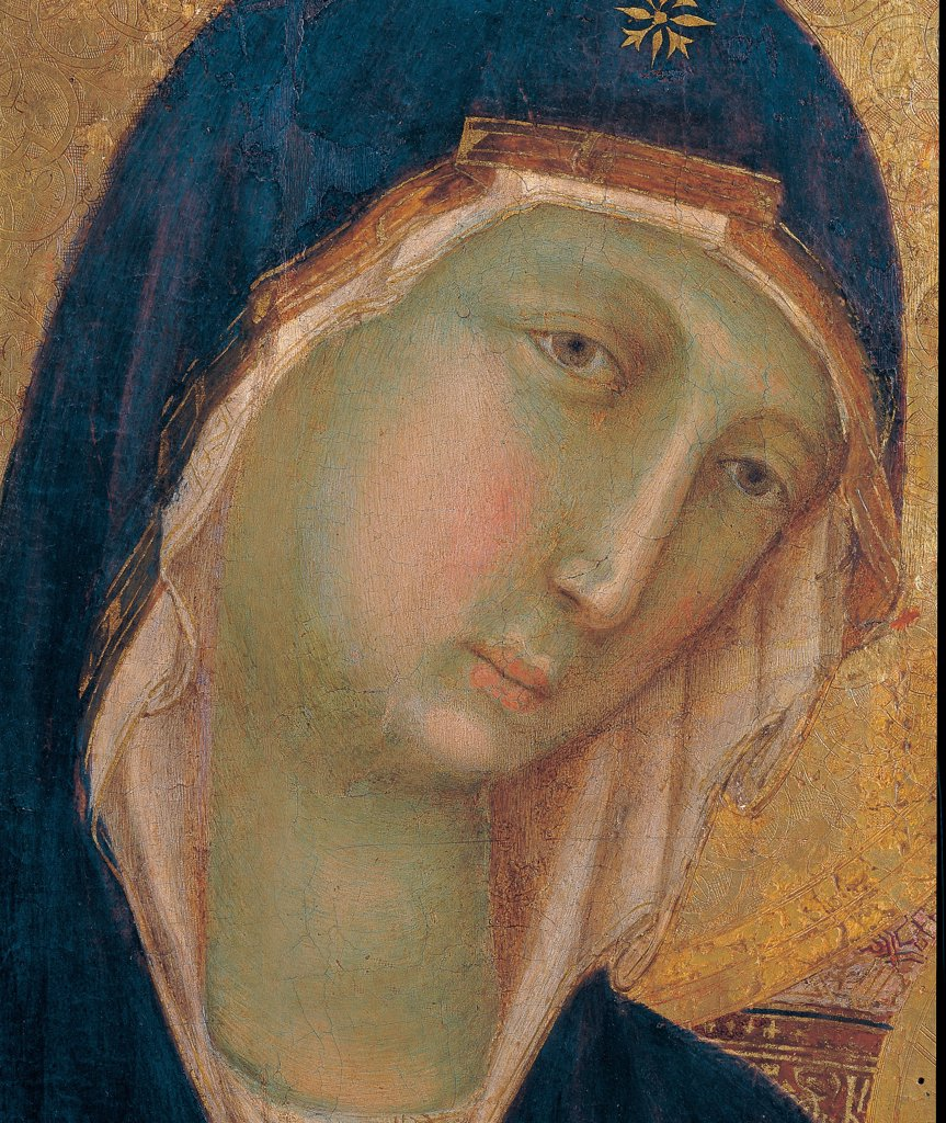 Military Parade at Campo di Marte, by Duccio di Buoninsegna, 1308 - 1311, 14th Century, tempera on panel, with gold ground. Italy. Tuscany. Siena. Cathedral. Front, main register. Detail of Virgin's face : Stock Photo