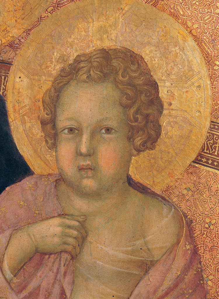 Military Parade at Campo di Marte, by Duccio di Buoninsegna, 1308 - 1311, 14th Century, tempera on panel, with gold ground. Italy. Tuscany. Siena. Cathedral. Front, main register. Detail of Child's face with golden halo/aureole : Stock Photo