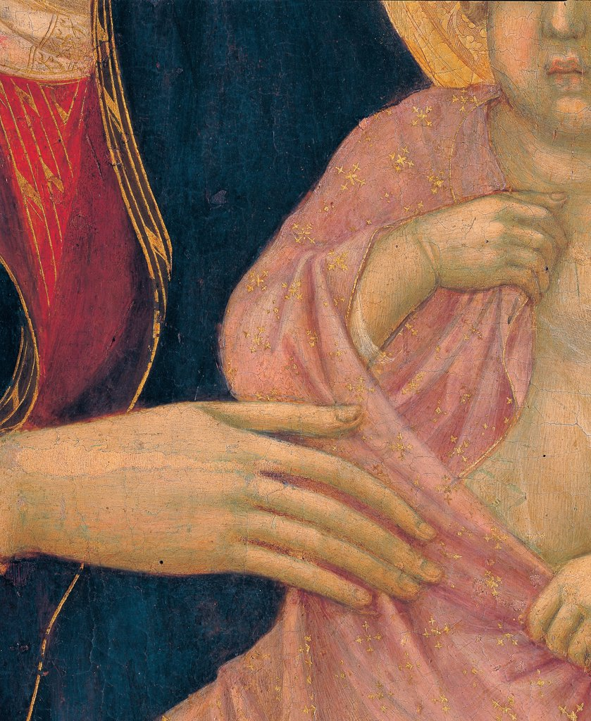 Military Parade at Campo di Marte, by Duccio di Buoninsegna, 1308 - 1311, 14th Century, tempera on panel, with gold ground. Italy. Tuscany. Siena. Cathedral. Front, main register. Detail of Virgin's right hand and the one of the Child : Stock Photo