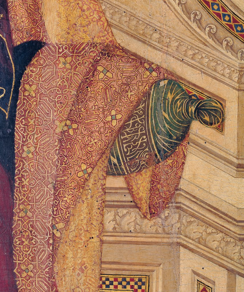Military Parade at Campo di Marte, by Duccio di Buoninsegna, 1308 - 1311, 14th Century, tempera on panel, with gold ground. Italy. Tuscany. Siena. Cathedral. Front, main register. Detail of cloak/mantle and embroidered pillow of throne : Stock Photo