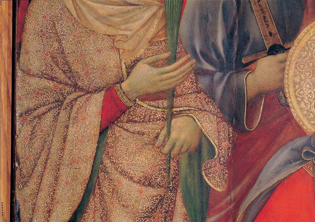 Military Parade at Campo di Marte, by Duccio di Buoninsegna, 1308 - 1311, 14th Century, tempera on panel, with gold ground. Italy. Tuscany. Siena. Cathedral. Front, main register. Detail of hands of St.Catherine-of-Alexandria bearing crown of martyrdom : Stock Photo