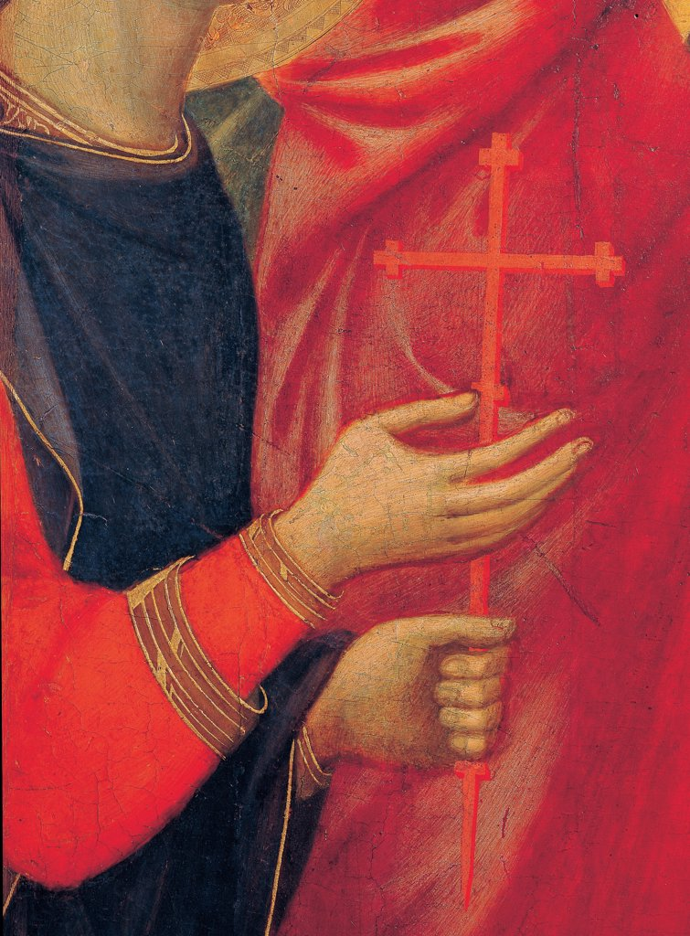 Military Parade at Campo di Marte, by Duccio di Buoninsegna, 1308 - 1311, 14th Century, tempera on panel, with gold ground. Italy. Tuscany. Siena. Cathedral. Front, main register. Detail of hands of St.Ansano bearing a red cross : Stock Photo