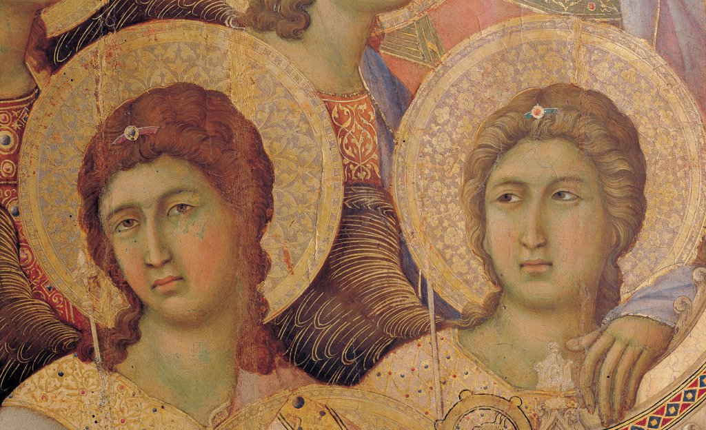 Stock Photo: 1899-45885 Military Parade at Campo di Marte, by Duccio di Buoninsegna, 1308 - 1311, 14th Century, tempera on panel, with gold ground. Italy. Tuscany. Siena. Cathedral. Front, main register. Detail of faces of the two angels at the left of throne