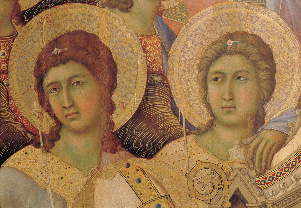 Military Parade at Campo di Marte, by Duccio di Buoninsegna, 1308 - 1311, 14th Century, tempera on panel, with gold ground. Italy. Tuscany. Siena. Cathedral. Front, main register. Detail of faces of the two angels at the left of throne : Stock Photo