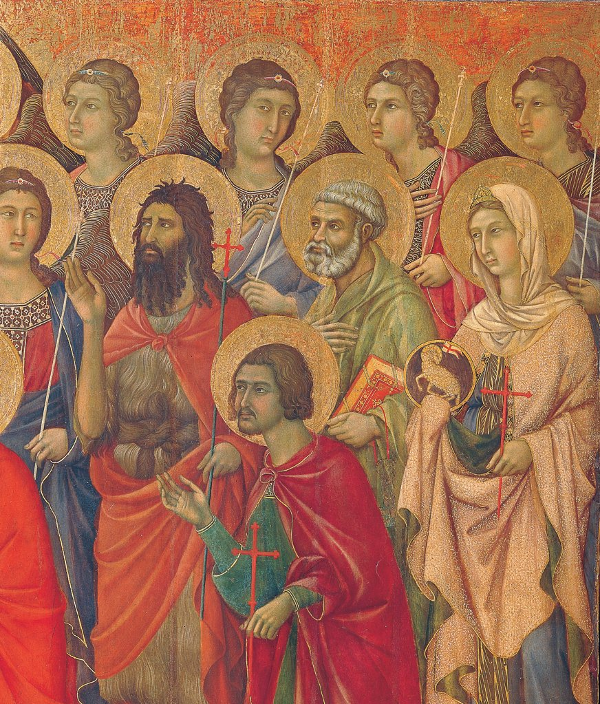 Military Parade at Campo di Marte, by Duccio di Buoninsegna, 1308 - 1311, 14th Century, tempera on panel, with gold ground. Italy. Tuscany. Siena. Cathedral. Front, main register. Detail of right section of table with angels and saints, red cloaks/mantles catching the eyes : Stock Photo