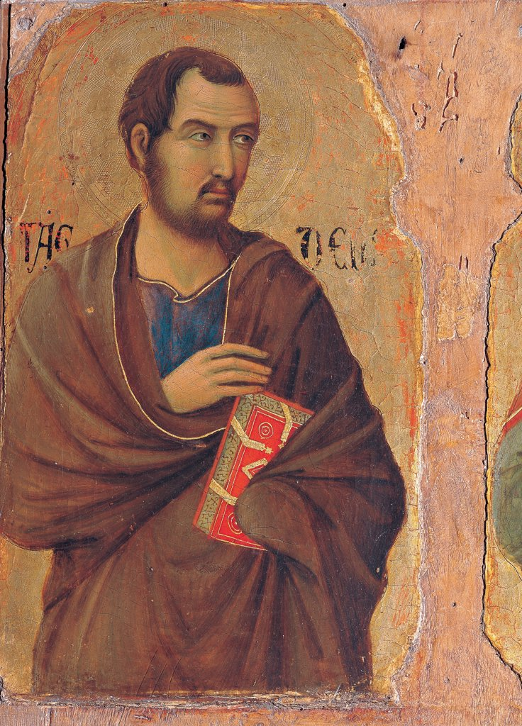 Stock Photo: 1899-45888 Military Parade at Campo di Marte, by Duccio di Buoninsegna, 1308 - 1311, 14th Century, tempera on panel, with gold ground. Italy. Tuscany. Siena. Cathedral. Front, left arcade. Detail of apostle Taddeus, bust, bearded man with brown cloak/mantle on blue dress, red book in the hand
