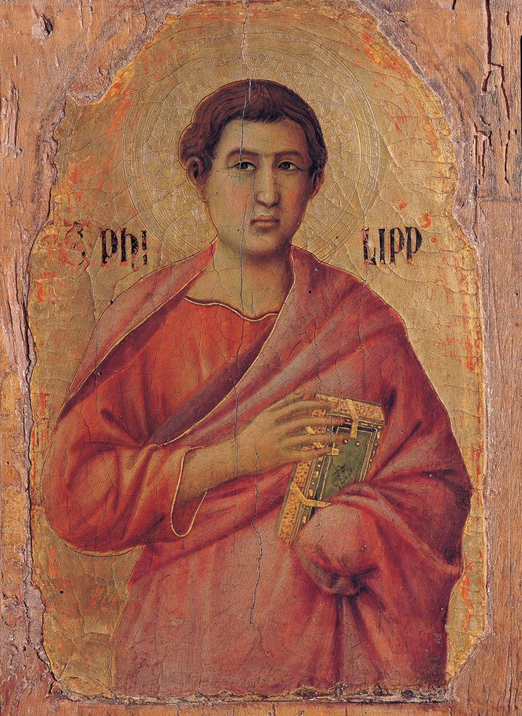Stock Photo: 1899-45890 Military Parade at Campo di Marte, by Duccio di Buoninsegna, 1308 - 1311, 14th Century, tempera on panel, with gold ground. Italy. Tuscany. Siena. Cathedral. Front, left arcade. Detail of apostle Philip, bust, man with red cloak/mantle and dress, book in the hand