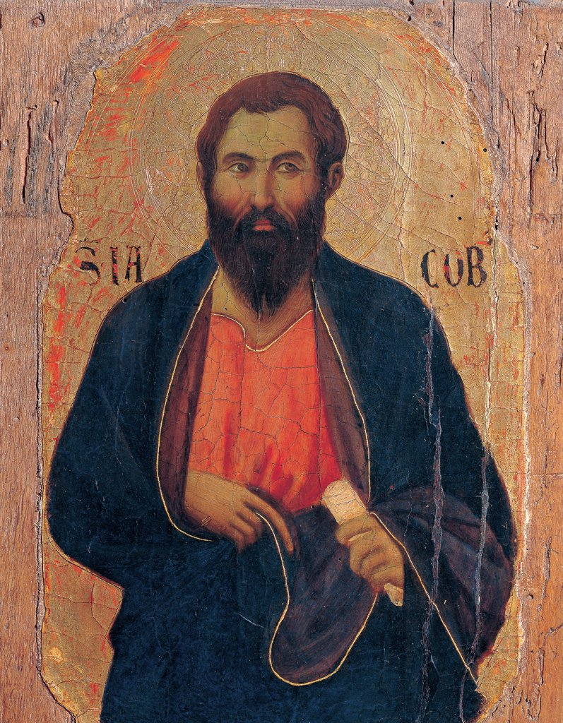 Military Parade at Campo di Marte, by Duccio di Buoninsegna, 1308 - 1311, 14th Century, tempera on panel, with gold ground. Italy. Tuscany. Siena. Cathedral. Front, left arcade. Detail of apostle James, bust, bearded man with blue cloak/mantle : Stock Photo