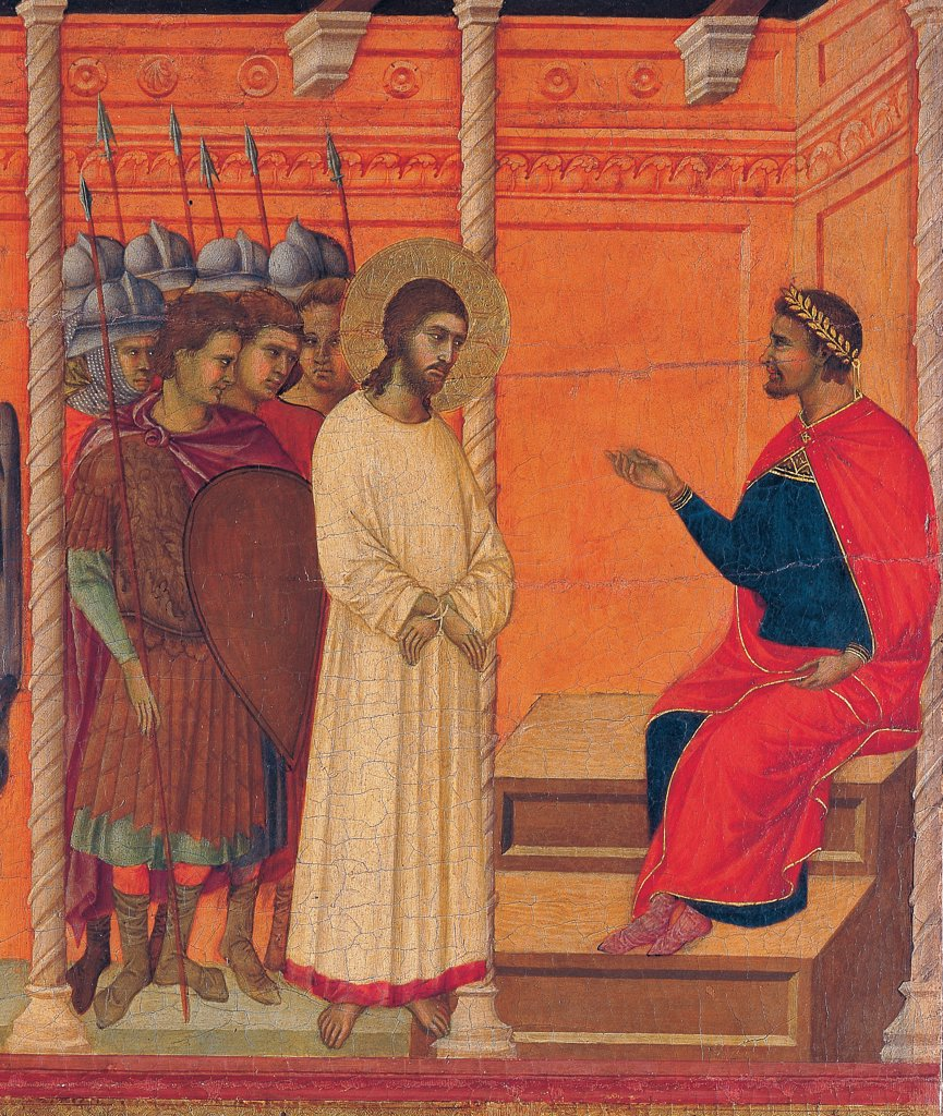 Stock Photo: 1899-45892 The Maesta, front, by Duccio di Buoninsegna, 1308 - 1311, 14th Century, tempera on panel. Italy. Tuscany. Siena. Cathedral. Back, upper fascia, total first panel up of Christ brought back to Pilate, detail, Christ with white dress contrasting with red cloak/mantle of Pilate and of walls, with soldiers in architectonic context