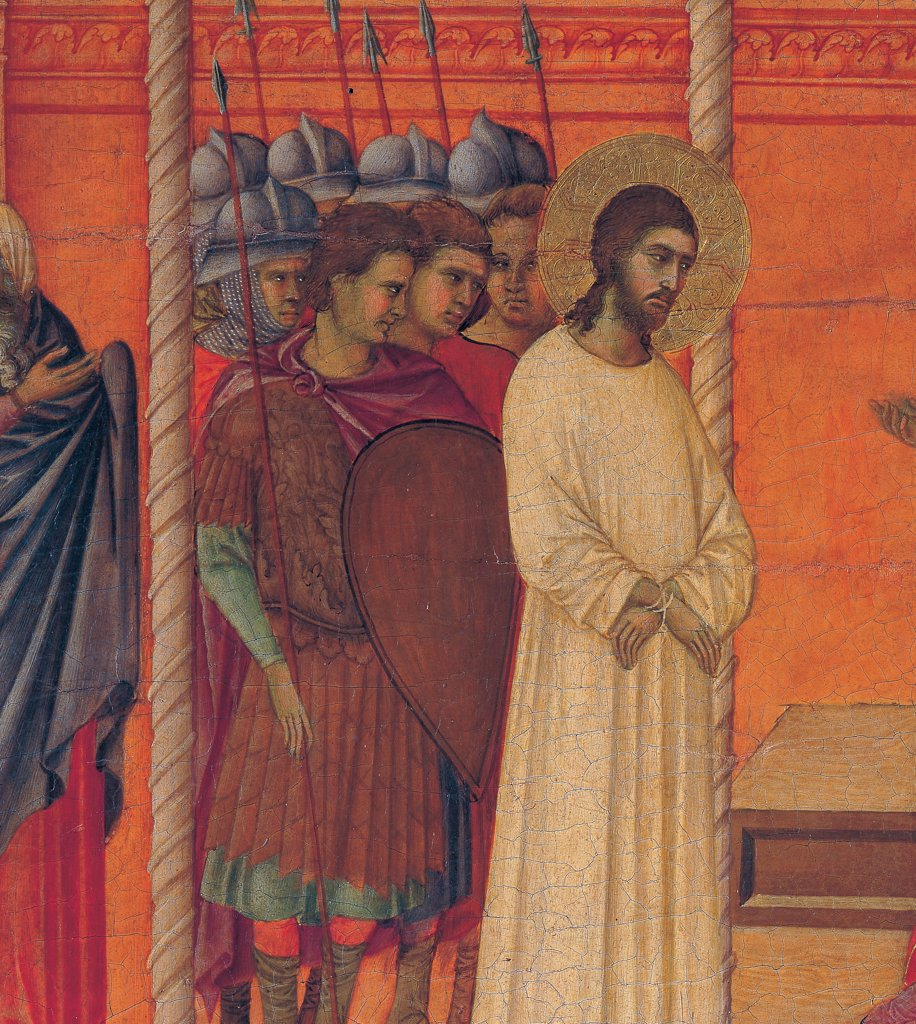 The Maesta, front, by Duccio di Buoninsegna, 1308 - 1311, 14th Century, tempera on panel. Italy. Tuscany. Siena. Cathedral. Back, upper fascia, total first panel up of Christ brought back to Pilate, detail, Christ with golden halo/aureole and white dress contrasting with red walls, with soldiers in architectonic context with small twisty columns : Stock Photo