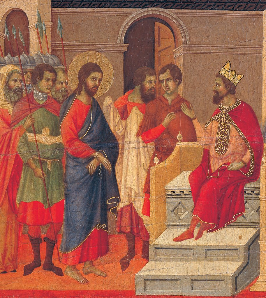 The Maesta, front, by Duccio di Buoninsegna, 1308 - 1311, 14th Century, tempera on panel. Italy: Tuscany: Siena: Cathedral. Back, panel with event of Christ in front of Herod, detail, Christ with blue cloak/mantle, red cloth golden halo/aureole in front of Herod in throne with red cloak/mantle and golden crown, in architectonic context with characters and soldiers : Stock Photo
