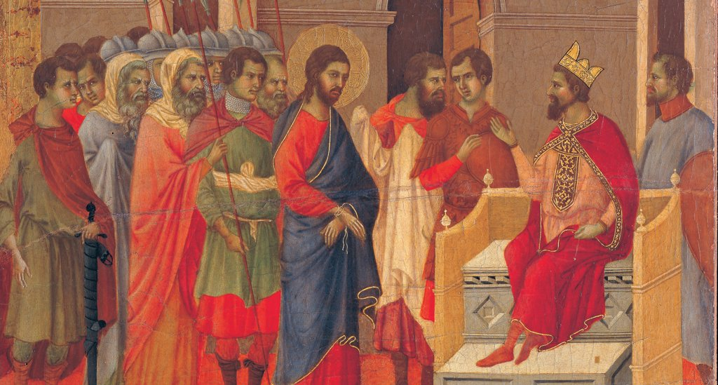 The Maesta, front, by Duccio di Buoninsegna, 1308 - 1311, 14th Century, tempera on panel. Italy: Tuscany: Siena: Cathedral. Back, panel with event of Christ in front of Herod, Christ with blue cloak/mantle, red cloth golden halo/aureole in front of Herod in throne with red cloak/mantle and golden crown, in architectonic context with characters and soldiers : Stock Photo