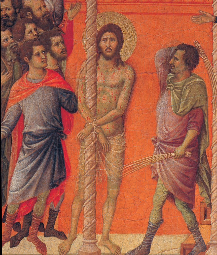 The Maesta, front, by Duccio di Buoninsegna, 1308 - 1311, 14th Century, tempera on panel. Italy. Tuscany. Siena. Cathedral. Back, upper fascia, second panel up of Flogging. Detail of Christ at column flogged at presence of crowd in space with red-orange walls : Stock Photo