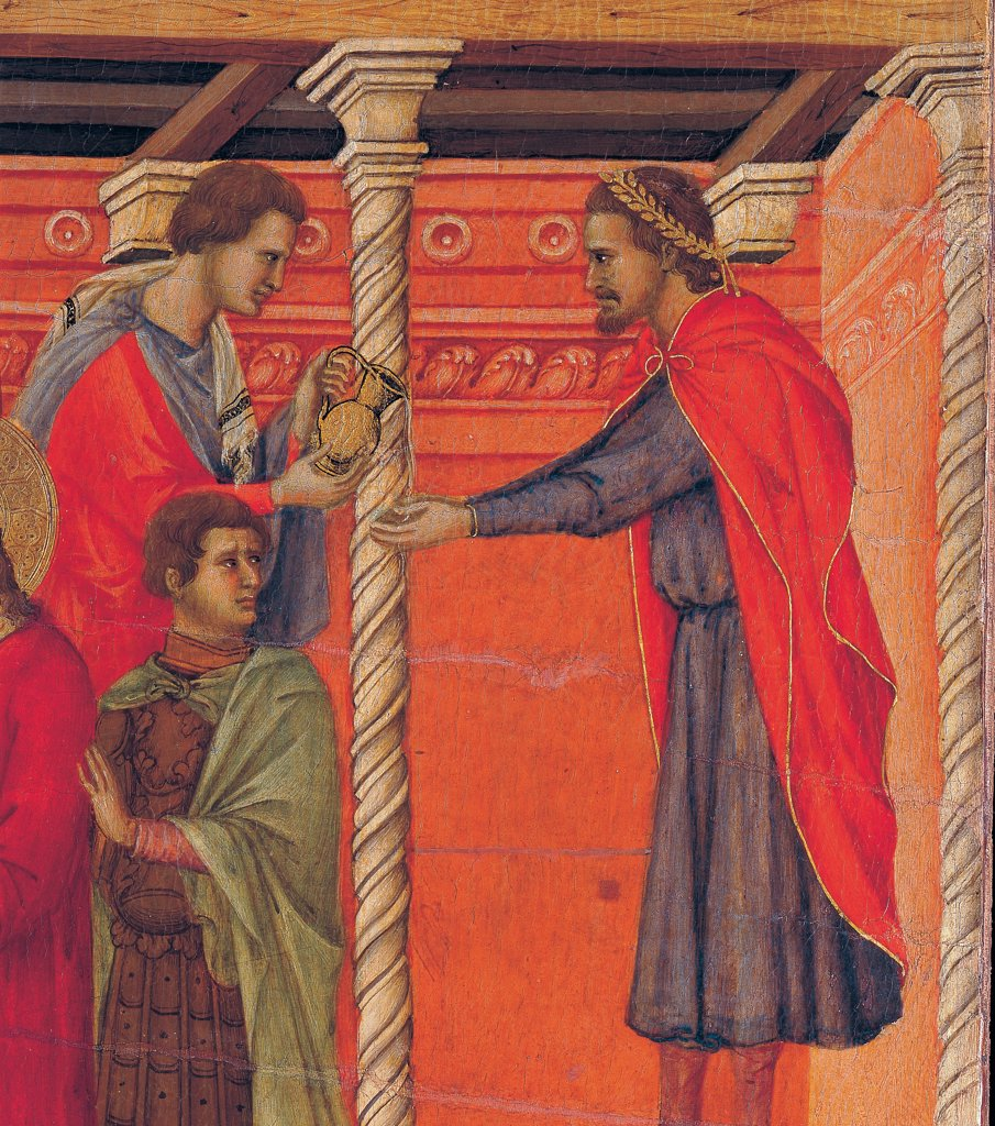 The Maesta, front, by Duccio di Buoninsegna, 1308 - 1311, 14th Century, tempera on panel. Italy. Tuscany. Siena. Cathedral. Back, upper fascia, third panel down of Pilate washing his hands. Detail of a servant pouring out some water from a pitcher to Pilate dressing red cloak/mantle and laurel crown. The white twisty column is contrasting on the background of the red-orange wall : Stock Photo
