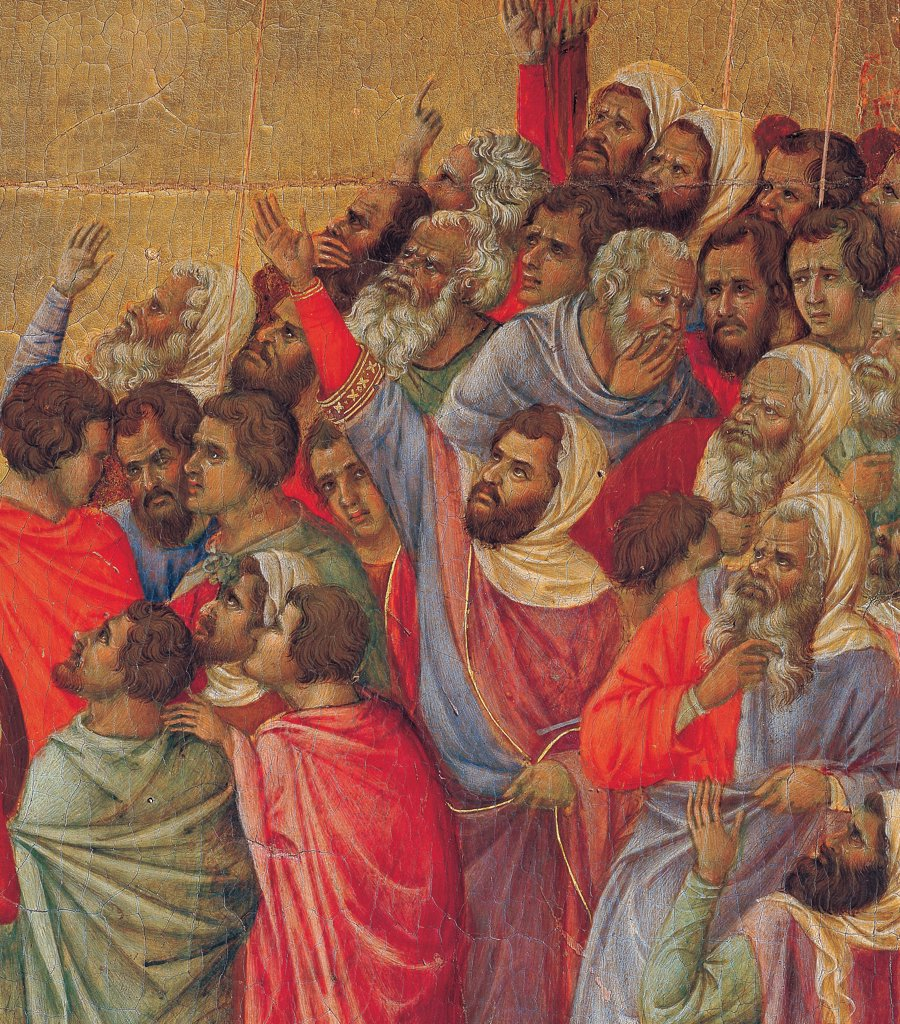 The Maesta, front, by Duccio di Buoninsegna, 1308 - 1311, 14th Century, tempera on panel. Italy. Tuscany. Siena. Cathedral. Back, upper fascia, detail fourth panel of Crucifixion, the crowd of men dressed with bright colors among which red is dominating, golden background : Stock Photo
