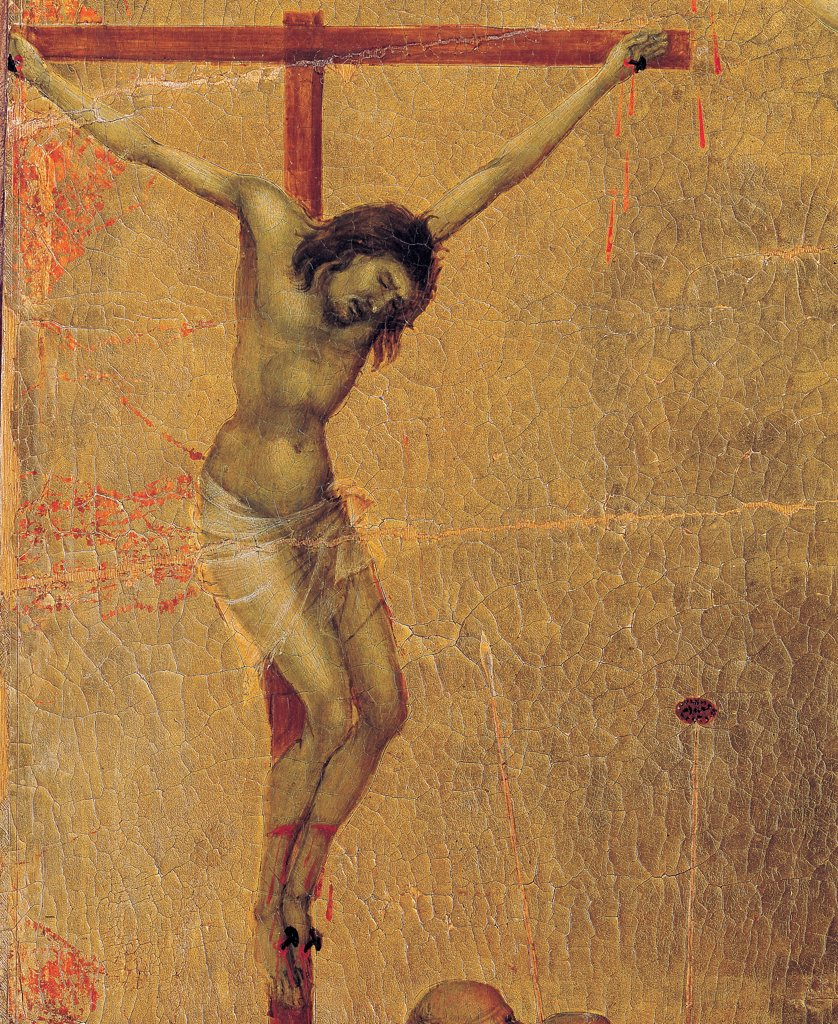 The Maesta, front, by Duccio di Buoninsegna, 1308 - 1311, 14th Century, tempera on panel. Italy. Tuscany. Siena. Cathedral. Back, upper fascia, detail fourth panel of Crucifixion, the left crucifixed robber, on golden background : Stock Photo