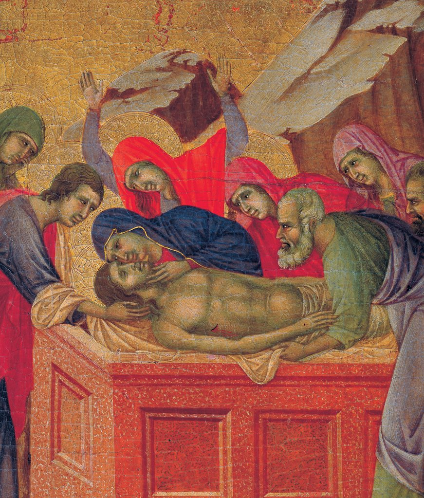 Stock Photo: 1899-45908 The Maesta, front, by Duccio di Buoninsegna, 1308 - 1311, 14th Century, tempera on panel. Italy. Tuscany. Siena. Cathedral. Back, upper fascia, fifth panel up. Detail of Burial of Christ, Christ is put in a red sarcophagus in presence of Virgin