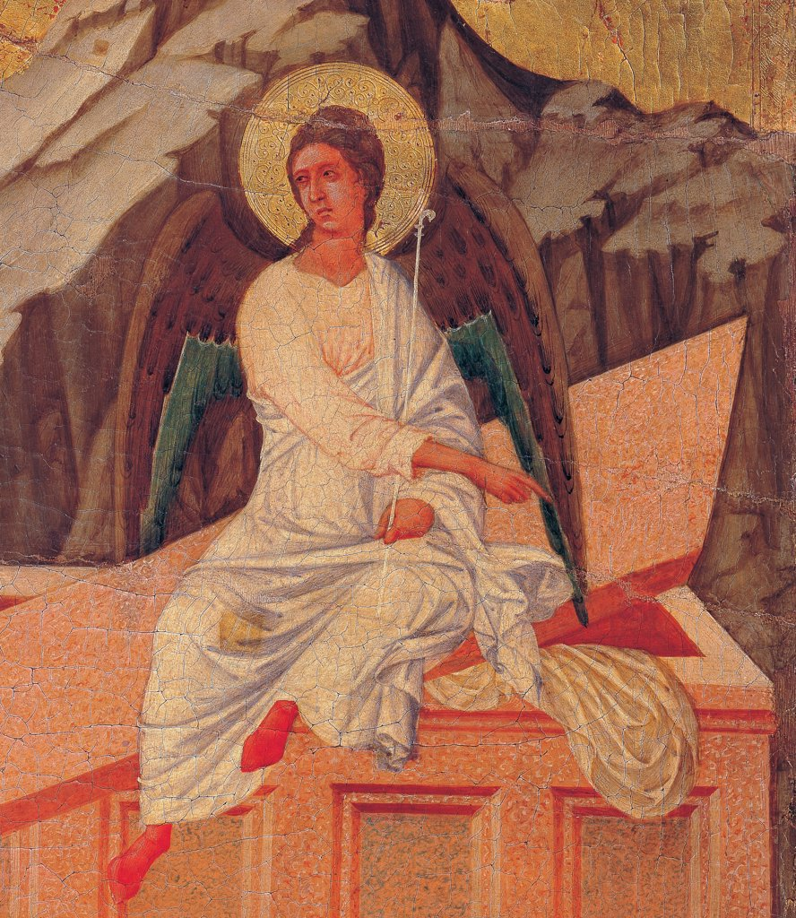 The Maesta, front, by Duccio di Buoninsegna, 1308 - 1311, 14th Century, tempera on panel. Italy. Tuscany. Siena. Cathedral. Back, upper fascia, detail sixth panel up of The Three Maries at the Tomb, sarcophagus on which a white dressed angel is sitting, on the golden background rocks stand out : Stock Photo