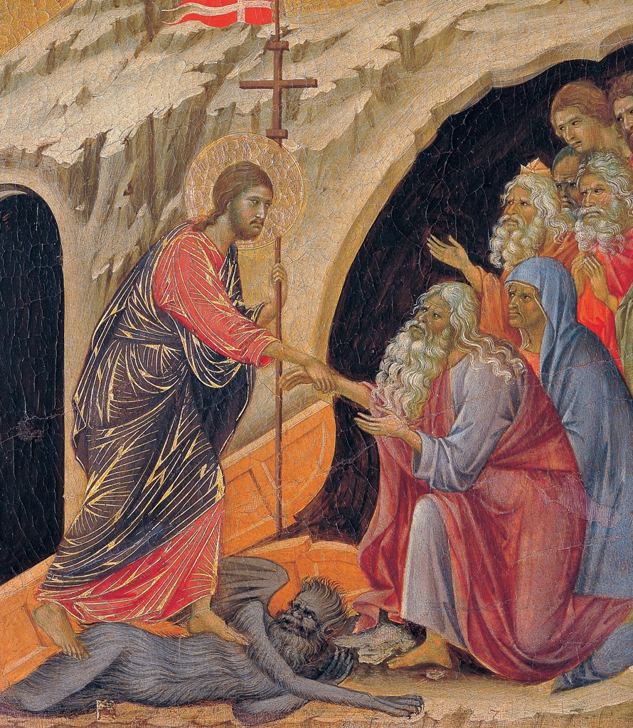 Stock Photo: 1899-45910 The Maesta, front, by Duccio di Buoninsegna, 1308 - 1311, 14th Century, tempera on panel. Italy. Tuscany. Siena. Cathedral. Back, upper fascia, detail sixth panel down of Descent to Limbo. Christ carrying cross with standard has a red and blue cloth with golden heightening, trampling on a devil talking to the souls coming out from a cave of men figures