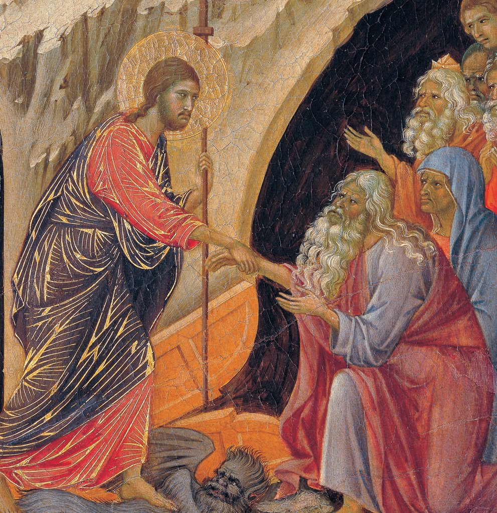 Stock Photo: 1899-45911 The Maesta, front, by Duccio di Buoninsegna, 1308 - 1311, 14th Century, tempera on panel. Italy. Tuscany. Siena. Cathedral. Back, upper fascia, detail sixth panel down of Descent to Limbo. Christ has a red and blue cloth with golden heightening, trampling on a devil turning to the souls coming out from a cave of bearded men