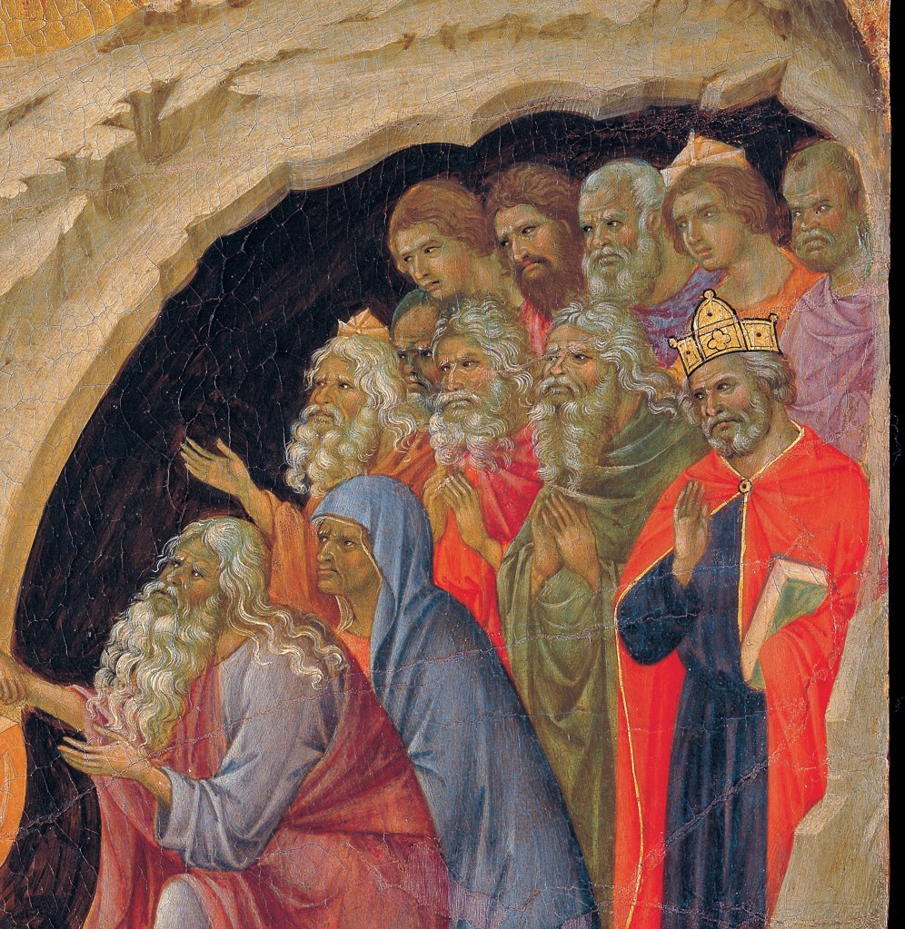 The Maesta, front, by Duccio di Buoninsegna, 1308 - 1311, 14th Century, tempera on panel. Italy. Tuscany. Siena. Cathedral. Back, upper fascia, detail sixth panel down of Descent to Limbo. Souls coming out from a cave of bearded men and a king with bright colored clothes (red, light-blue/azure, blue) : Stock Photo
