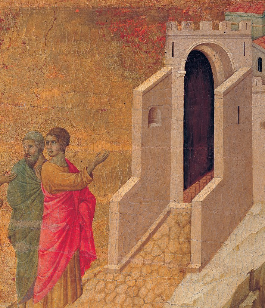 The Maesta, front, by Duccio di Buoninsegna, 1308 - 1311, 14th Century, tempera on panel. Italy. Tuscany. Siena. Cathedral. Back, upper fascia, seventh panel up. Detail of Christ and his Disciples on their Way to Emmaus. The two disciples with bright green and red cloaks/mantles, on golden background : Stock Photo