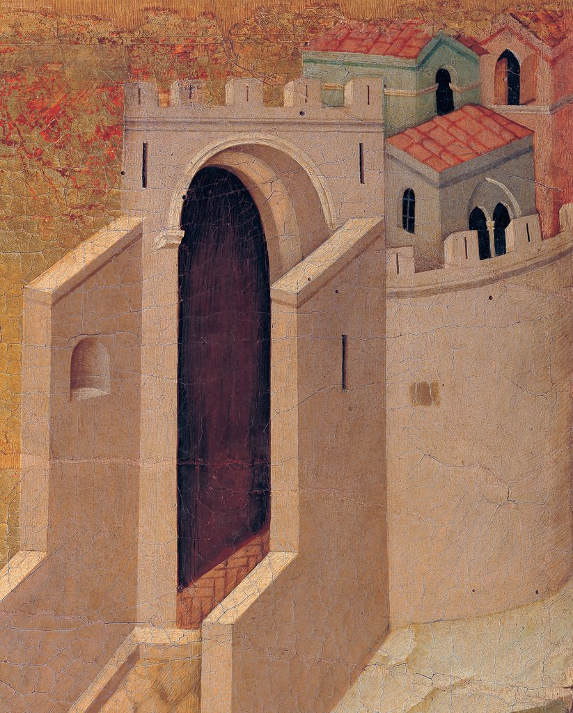 The Maesta, front, by Duccio di Buoninsegna, 1308 - 1311, 14th Century, tempera on panel. Italy. Tuscany. Siena. Cathedral. Back, upper fascia, seventh panel up. Detail of Christ and his Disciples on their Way to Emmaus. The doors of the fortified town, on golden background : Stock Photo