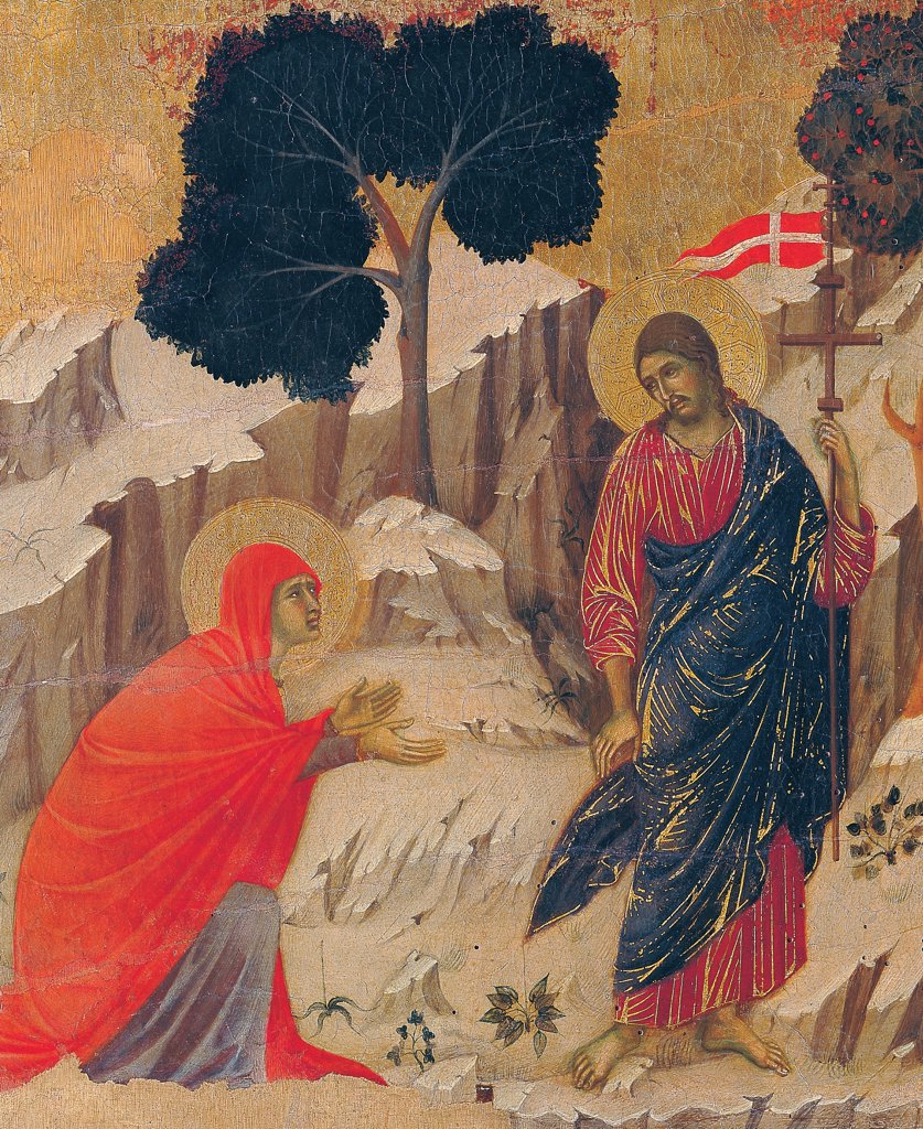 The Maesta, front, by Duccio di Buoninsegna, 1308 - 1311, 14th Century, tempera on panel. Italy. Tuscany. Siena. Cathedral. Back, upper fascia, seventh panel down. Detail of Noli me tangere (Appearence of Christ to Mary Magdalene). Christ with red garment and blue drape with golden heightening carrying the cross with the standard, Magdalene with red cloak/mantle is kneeling. : Stock Photo