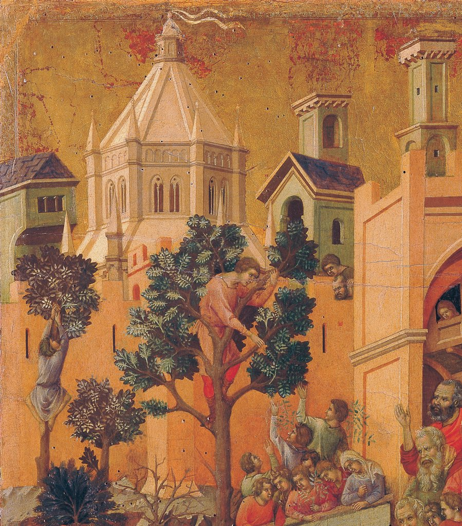 The Maesta, front, by Duccio di Buoninsegna, 1308 - 1311, 14th Century, tempera on panel. Italy: Tuscany: Siena: Cathedral. Verso, lower fascia, first panel. Entry into Jerusalem, detail. Two men, climbed trees, plucking branches and passing them to the crowd below. The city, with a dome-shaped building, rises in the gold background : Stock Photo