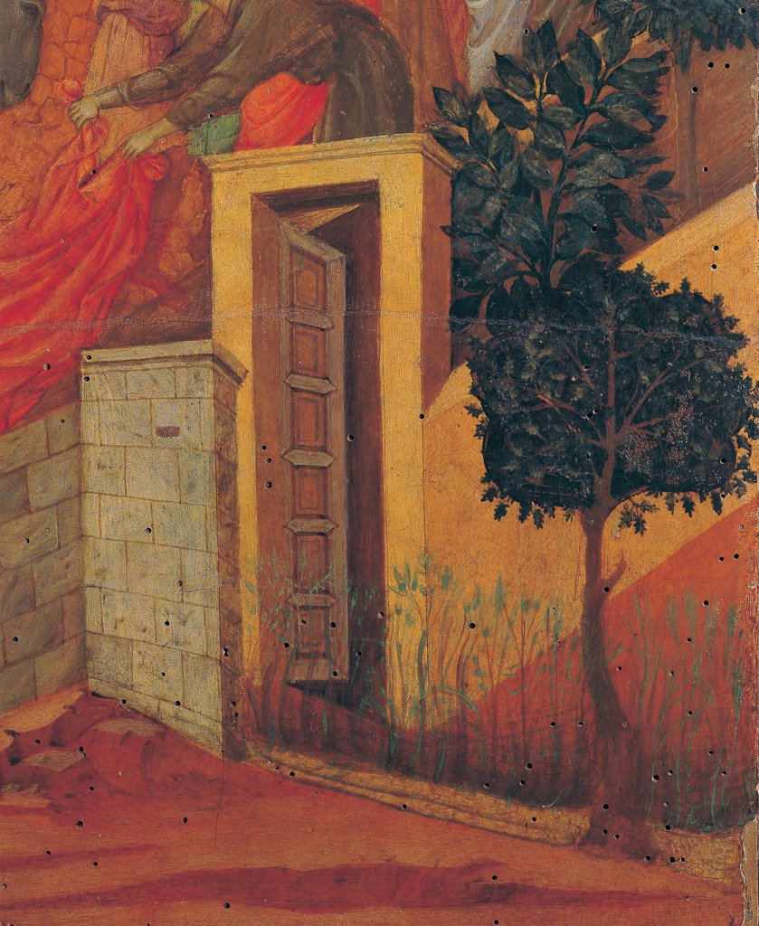 The Maesta, front, by Duccio di Buoninsegna, 1308 - 1311, 14th Century, tempera on panel. Italy. Tuscany. Siena. Cathedral. Verso, lower fascia, first panel. Entry into Jerusalem, detail of a door and trees. : Stock Photo