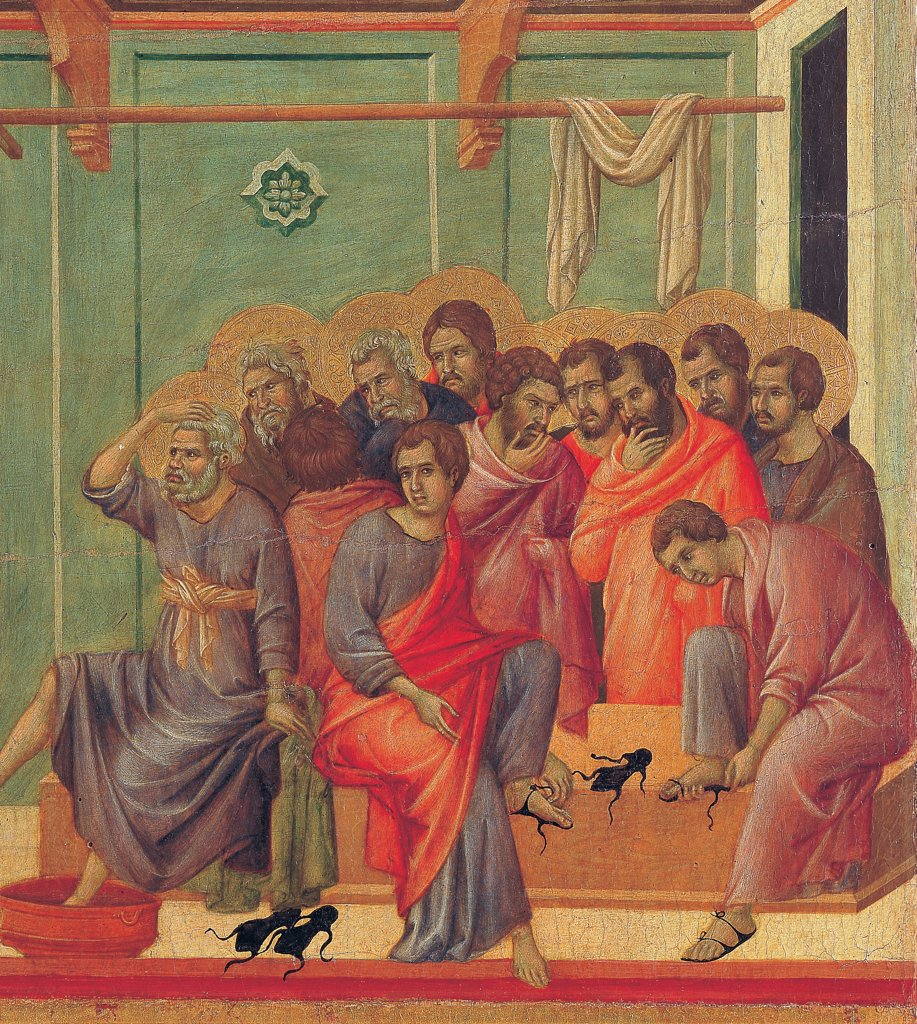 The Maesta, front, by Duccio di Buoninsegna, 1308 - 1311, 14th Century, tempera on panel. Italy. Tuscany. Siena. Cathedral. Verso, lower fascia, second panel at the top. Washing of the Feet, detail of the apostles, in a room with green walls. Two apostles wearing sandals. : Stock Photo