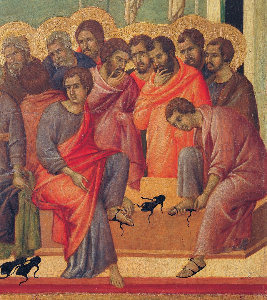 Stock Photo: 1899-45928 The Maesta, front, by Duccio di Buoninsegna, 1308 - 1311, 14th Century, tempera on panel. Italy. Tuscany. Siena. Cathedral. Verso, lower fascia, second panel at the top. Washing of the Feet, detail of the apostles, in a room with green walls. Two apostles wearing sandals.