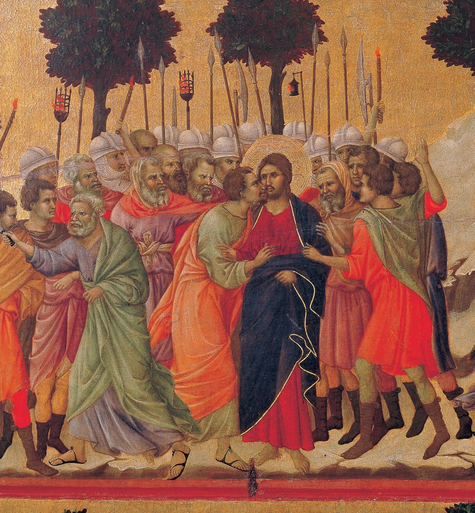 Stock Photo: 1899-45935 The Maesta, front, by Duccio di Buoninsegna, 1308 - 1311, 14th Century, tempera on panel. Italy. Tuscany. Siena. Cathedral. Verso, lower fascia, fourth panel at the top. Christ Taken Prisoner (The Kiss of Judas), detail. In the foreground of Judas kissing Christ with gold aureole/halo, behind are soldiers with elms lances/spears torches. Apostles.