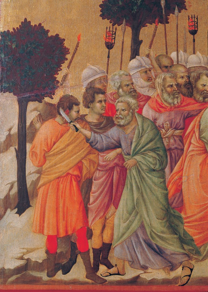 The Maesta, front, by Duccio di Buoninsegna, 1308 - 1311, 14th Century, tempera on panel. Italy: Tuscany: Siena: Cathedral. Verso, lower fascia, fourth panel on top. The Taking of Christ (Kiss of Judas), detail. The soldiers with helmets, spears/lances and torches, in the center Peter wounds with a knife a servant of the high priest, cutting off an ear, on the background rocks and trees in the gold-background. : Stock Photo