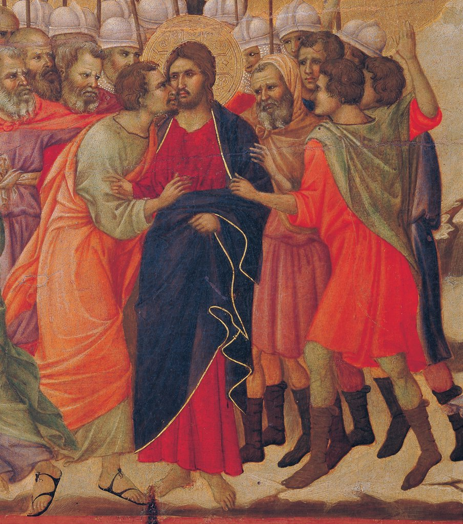 Stock Photo: 1899-45937 The Maesta, front, by Duccio di Buoninsegna, 1308 - 1311, 14th Century, tempera on panel. Italy: Tuscany: Siena: Cathedral. Verso, lower fascia, fourth panel at the top. Christ Taken Prisoner (The Kiss of Judas), detail. At the center Judas wearing sandals, kissing Jesus with red dress/garment and blue mantle/cloak, behind are soldiers.