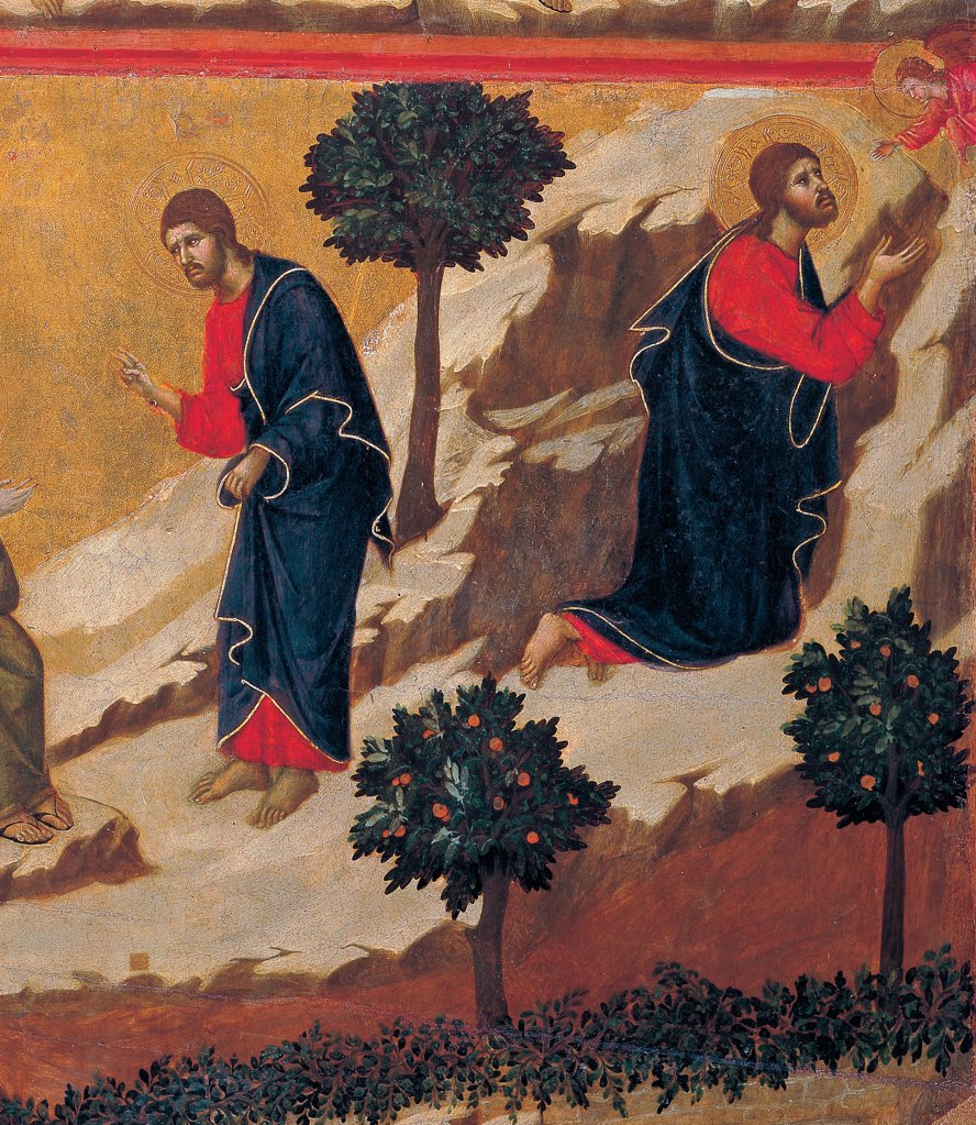 The Maesta, front, by Duccio di Buoninsegna, 1308 - 1311, 14th Century, tempera on panel. Italy: Tuscany: Siena: Cathedral. Verso, lower fascia, fourth panel below. Agony in the Garden detail. On the left Jesus blessing, on the right, Christ among the rocks comforted by an angel, top right corner. In the gold-background trees, in the foreground plants with fruits and small bushes. : Stock Photo
