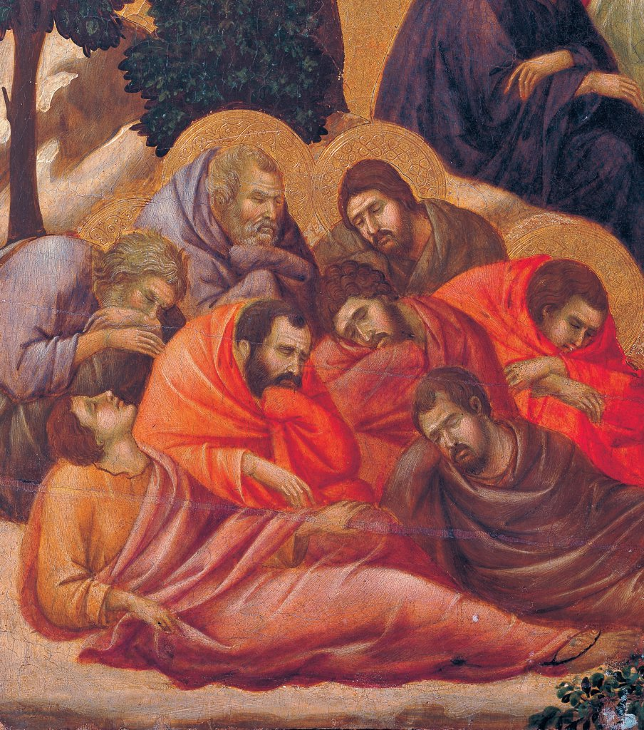 The Maesta, front, by Duccio di Buoninsegna, 1308 - 1311, 14th Century, tempera on panel. Italy. Tuscany. Siena. Cathedral. Verso, lower fascia, fourth panel below. Agony in the Garden, detail of the apostles/prophets asleep. : Stock Photo