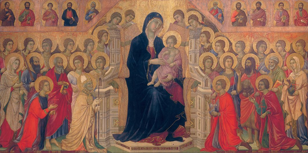 Military Parade at Campo di Marte, by Duccio di Buoninsegna, 1308 - 1311, 14th Century, tempera on panel, with gold ground. Italy. Tuscany. Siena. Cathedral. Front. The Virgin and the Child Jesus/Baby Jesus/Christ Child sitting on gothic throne, surrounded by angels and saints. Precious colors of blue, red and gold. Aureoles/halos in gilded pastiglia. : Stock Photo