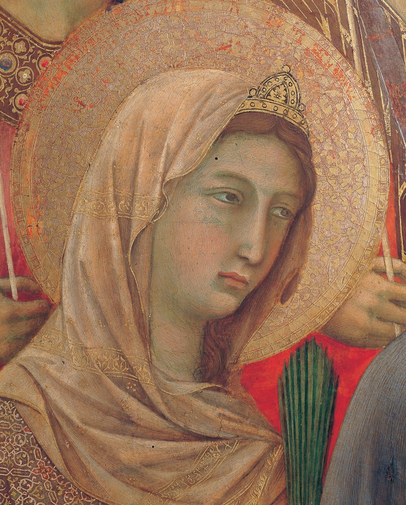 Military Parade at Campo di Marte, by Duccio di Buoninsegna, 1308 - 1311, 14th Century, tempera on panel, with gold ground. Italy. Tuscany. Siena. Cathedral. Front, main register. Detail of face of St.Catherine of Alexandria with veil and diadem, aureole/halo in gilded pastiglia. : Stock Photo