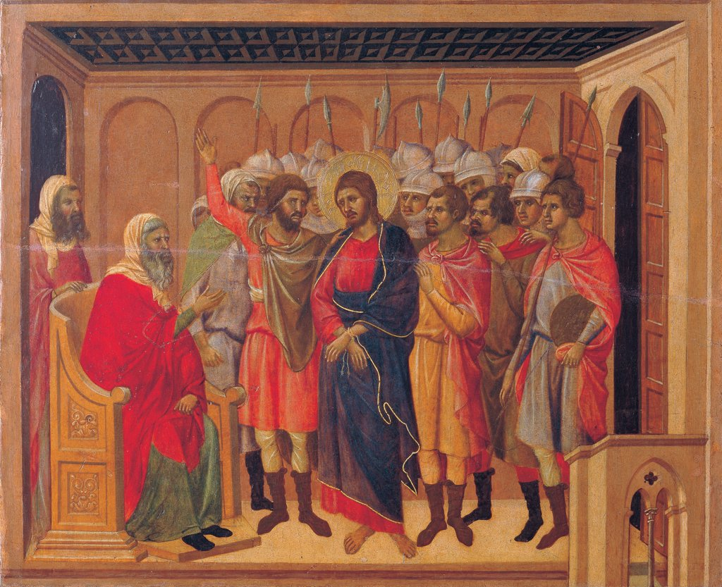 The Maesta, front, by Duccio di Buoninsegna, 1308 - 1311, 14th Century, tempera on panel. Italy. Tuscany. Siena. Cathedral. Verso, lower fascia, fifth panel at the top, Christ before Annas and Peter Denying Jesus. Detail of top, Jesus wearing blue mantle/cloak among the soldiers in architectural interior. Bright color clothes. : Stock Photo