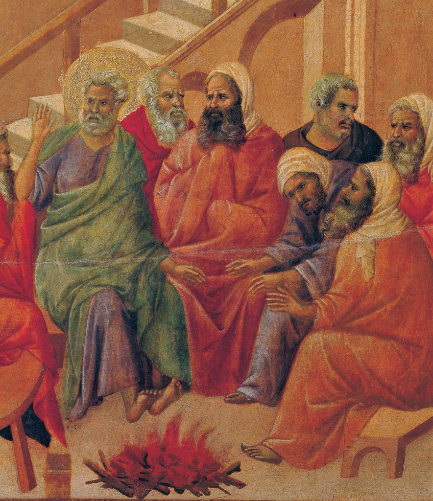 The Maesta, front, by Duccio di Buoninsegna, 1308 - 1311, 14th Century, tempera on panel. Italy. Tuscany. Siena. Cathedral. Verso, lower fascia, fifth panel at the top, Christ before Annas and Peter Denying Jesus. Detail of Peter, before the fire with the apostles. Bright color clothes. : Stock Photo