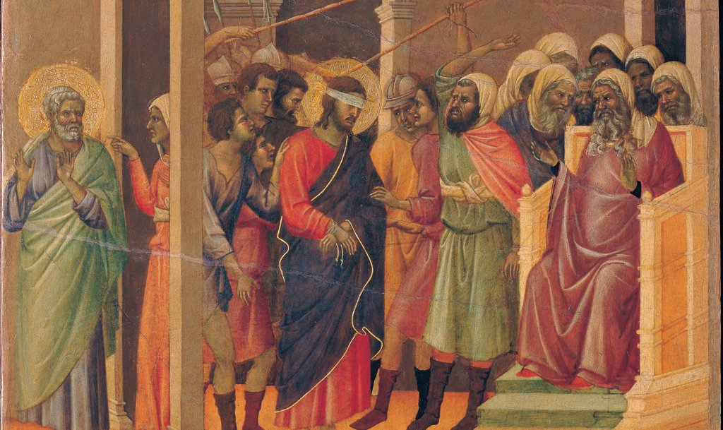 The Maesta, front, by Duccio di Buoninsegna, 1308 - 1311, 14th Century, tempera on panel. Italy. Tuscany. Siena. Cathedral. Verso, lower fascia, sixth panel at the top of Christ Mocked, detail. Christ blindfolded, blue drape, tied wrists before Caiaphas, hit with sticks. Crowded architectural interior. Soldiers and men. On the left of Peter : Stock Photo