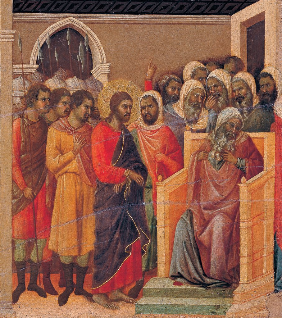 Stock Photo: 1899-45948 The Maesta, front, by Duccio di Buoninsegna, 1308 - 1311, 14th Century, tempera on panel. Italy. Tuscany. Siena. Cathedral. Verso, lower fascia, sixth panel in the bottom of Christ Before Caiaphas. Christ blindfolded, blue drape, tied wrists before Caiaphas.