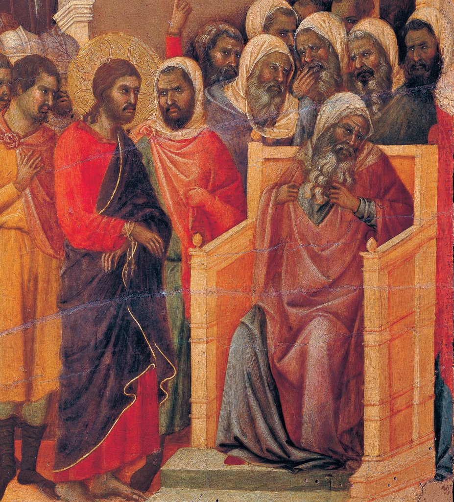 The Maesta, front, by Duccio di Buoninsegna, 1308 - 1311, 14th Century, tempera on panel. Italy. Tuscany. Siena. Cathedral. Verso, lower fascia, sixth panel in the bottom of Christ Before Caiaphas. Christ blindfolded, blue drape, tied wrists before Caiaphas. : Stock Photo